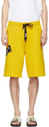 Dolce & Gabbana Yellow Logo Sweat Shorts