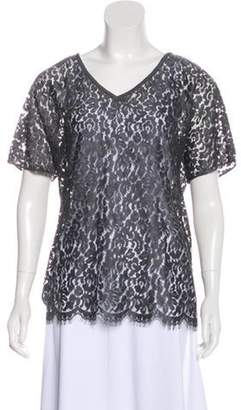 Dolce & Gabbana Lace Short Sleeve Top w/ Tags Grey Lace Short Sleeve Top w/ Tags