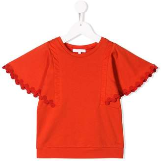 Chloé Kids embroidered sleeves trim T-shirt