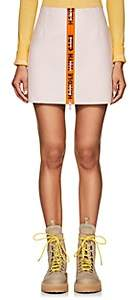 "Heron Preston Women's ""Handle With Care"" Leather Miniskirt-White"