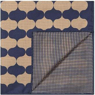 Reiss LEO WAVE PRINTED SILK POCKET SQUARE Navy/gold