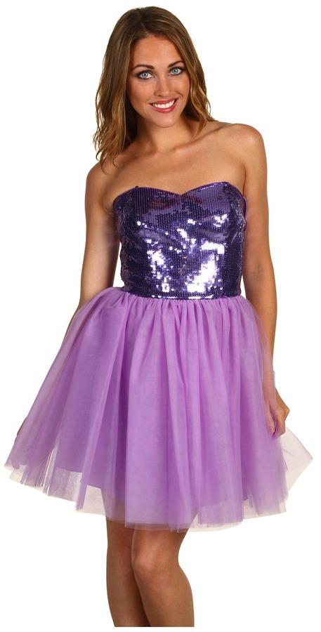 Betsey Johnson Evening Sequins Tulle Strapless Dress (Grape) - Apparel
