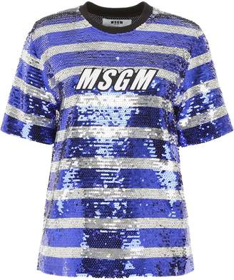 437aa7fda6c425 MSGM Sequins Striped Blouse With Logo