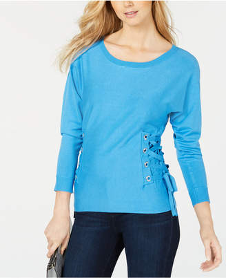 INC International Concepts I.n.c. Petite Scoop-Neck Lace-Up Sweater