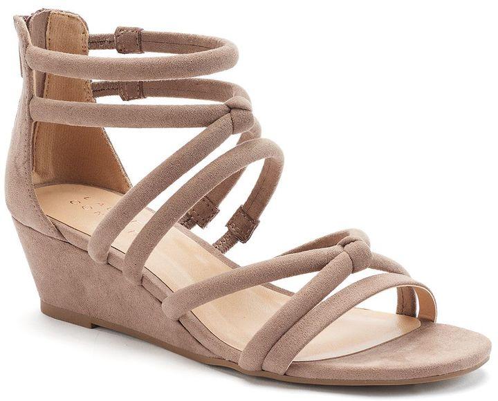 Lauren Conrad Women's Tube Strap Wedge Sandals