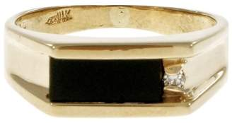 14K Yellow Gold with Black Onyx & 0.02ct Diamond Ring Size 8.5