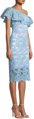 Theia Flounce Ruffle One-Shoulder Dress w/ Circle Embroidery