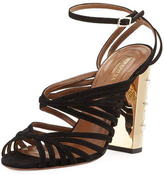 Aquazzura Trinity Strappy Suede Stud-Heel Sandal, Black