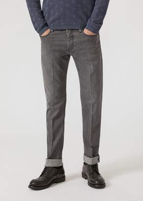 Emporio Armani J75 Regular Fit Stone-Washed Denim Jeans
