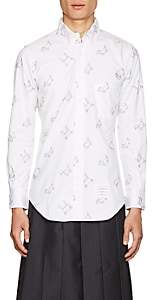 Thom Browne Men's Toy-Animal-Embroidered Cotton Oxford Shirt - White
