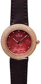 Charmex ラスベガス6298 35 mmステンレススチールケースブラウンカーフスキンSynthetic Sapphire Women 's Watch