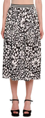 Missoni Dahlia-Print A-Line Midi Skirt w/ Striped Waistband
