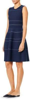 Carolina Herrera Stripe Knit Fit-and-Flare Dress
