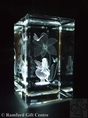 Crystal Images Laser Creation FAIRY LILY FLOWER LASER PAPERWEIGHT 3 DIMENSIONAL 3610