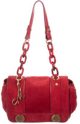 Milly Leather-Trimmed Suede Bag