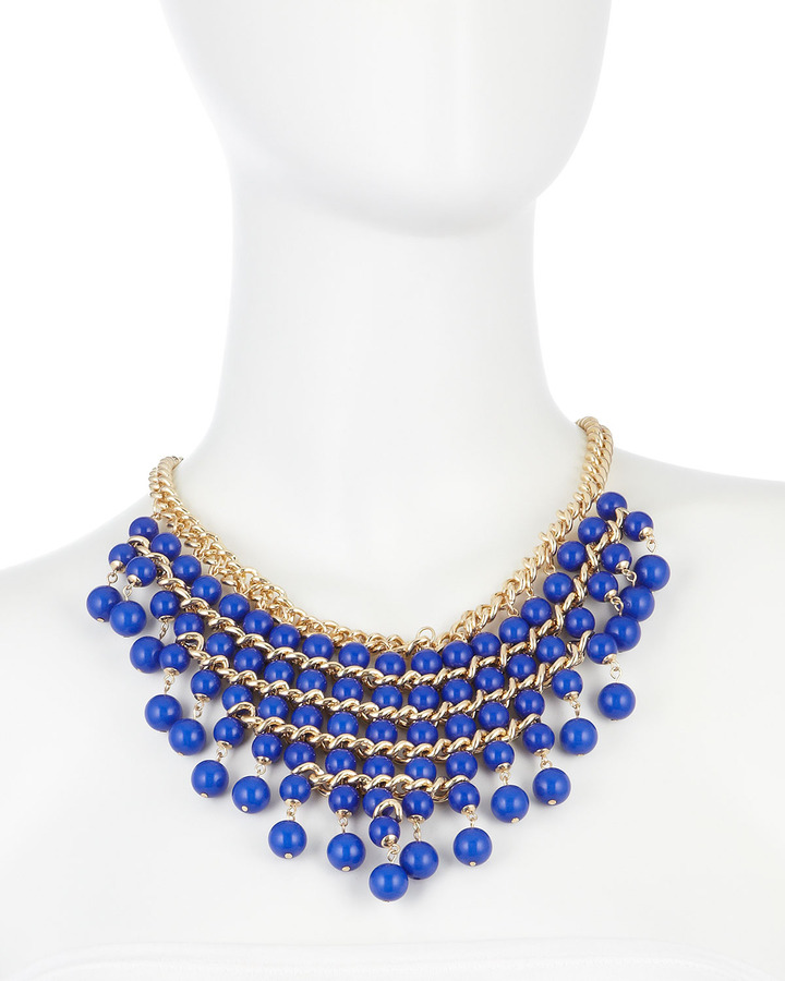 Fragments for Neiman Marcus Cascading Glass-Pearl Bib Necklace, Blue