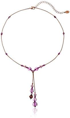 Coppertone 1928 Jewelry Burnished Copper-Tone AB Beaded Adjustable Y-Shaped Necklace