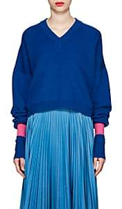 Maison Margiela Women's Rib-Knit Wool-Blend Relaxed Sweater - Blue