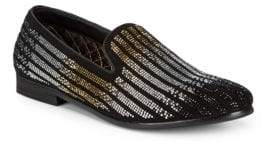 Steve Madden P-Duel Embellished Leather Smoking Slippers