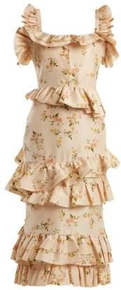 Brock Collection - Daria Floral Print Silk Taffeta Dress - Womens - Beige Print