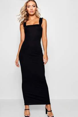 boohoo Ruffle Shoulder Jersey Maxi Dress