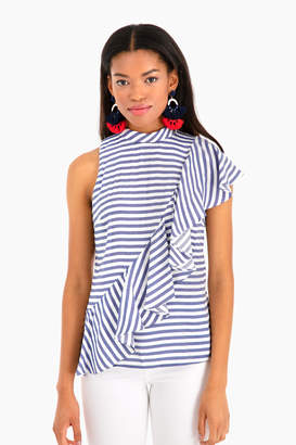 Nicole Miller Sailor Stripe Asymmetrical Ruffle Top