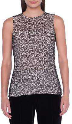 Akris Sleeveless Jewel-Neck Burnout Velvet Blouse