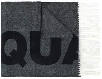 DSQUARED2 fringed intarsia logo scarf