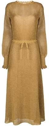 Twin-Set belted perforated knit dress