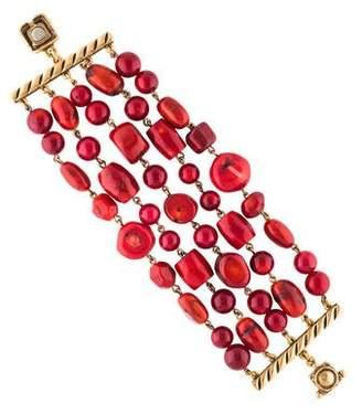 Oscar de la Renta Dyed Coral Multistrand Bracelet