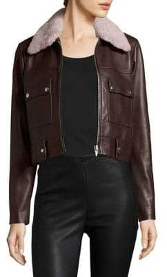Veda Freeman Shearling Collar Leather Jacket