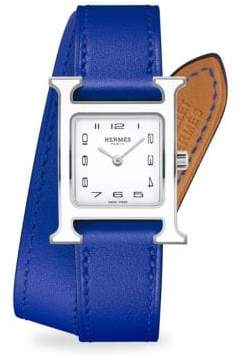 Hermes Watches Heure H Lacquered, Stainless Steel& Leather Strap Watch