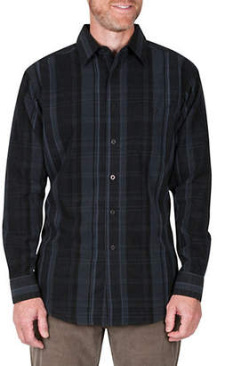 Haggar Long-Sleeve Plaid Regular-Fit Button-Down Shirt