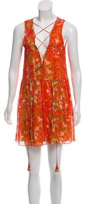 Opening Ceremony Floral Lace-Up Dress