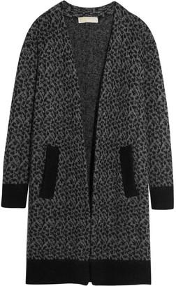 MICHAEL Michael Kors - Leopard Jacquard-knit Cardigan - Gray $275 thestylecure.com