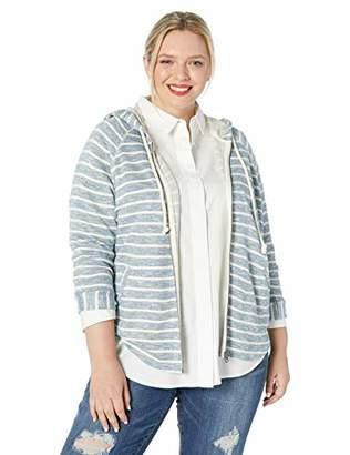 Lucky Brand Women's Plus Size Stripe Hooded Poncho Sweatshirt