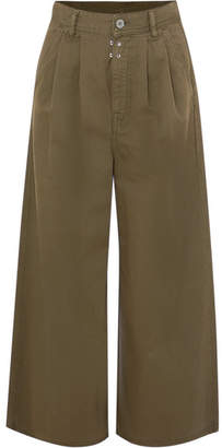 MM6 MAISON MARGIELA Cotton-twill Wide-leg Pants - Green