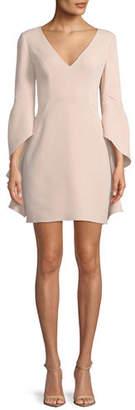 Halston V-Neck Flounce-Sleeve Mini Cocktail Dress