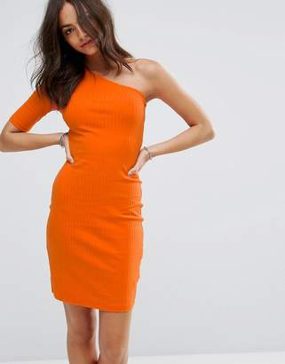 New Look Ribbed One Shoulder Bodycon Dress