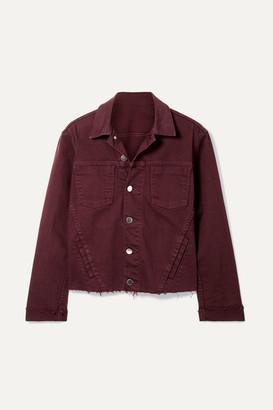 L'Agence Janelle Cropped Frayed Denim Jacket - Burgundy