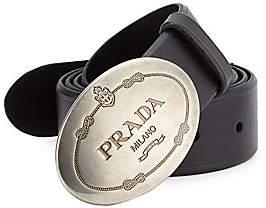 Prada Men's Logo Buckle Leather Belt