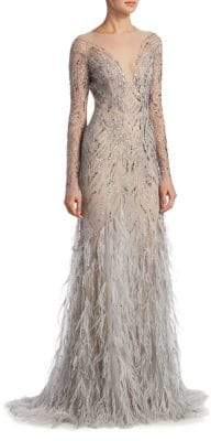 Monique Lhuillier Embellished Illusion Gown
