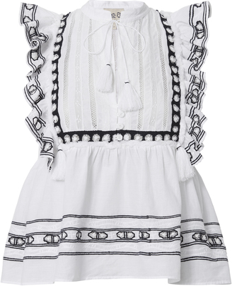 Sea Navy Embroidered White Ruffle Tank $295 thestylecure.com