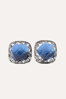 Larkspur & Hawk - Jane Small Rhodium-dipped Quartz Earrings - Blue