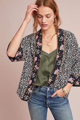 Bl-nk Leopard-Printed Cropped Kimono