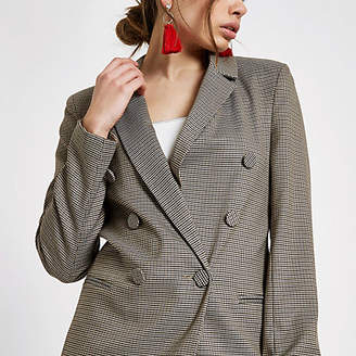 River Island Womens Brown heritage check double breasted blazer