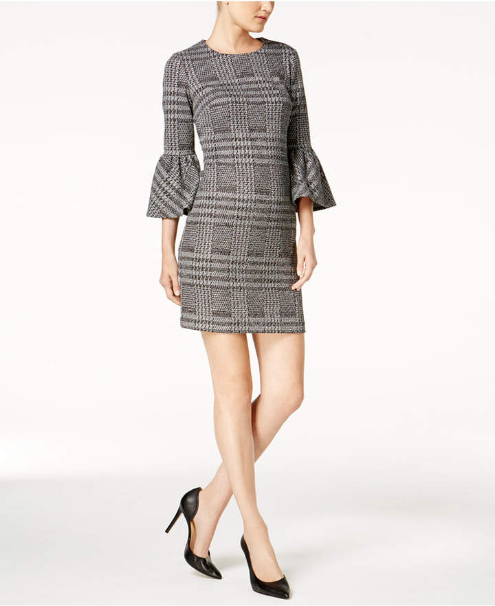 Calvin Klein Plaid Ponte-Knit Bell-Sleeve Dress, Regular & Petite Sizes