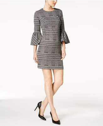 Calvin Klein Plaid Ponte-Knit Bell-Sleeve Dress