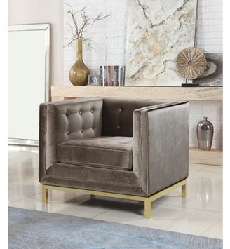 Chic Home Evie Accent Club Chair Sleek Elegant Tufted Velvet Plush Cushion Brass Finished Stainless Steel Brushed Metal Frame, Modern Contemporary, Taupe