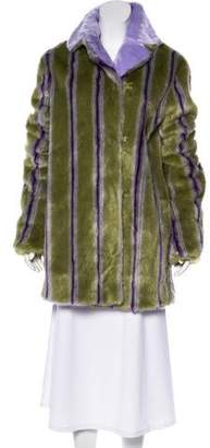 Marco De Vincenzo Faux Fur Striped Coat w/ Tags